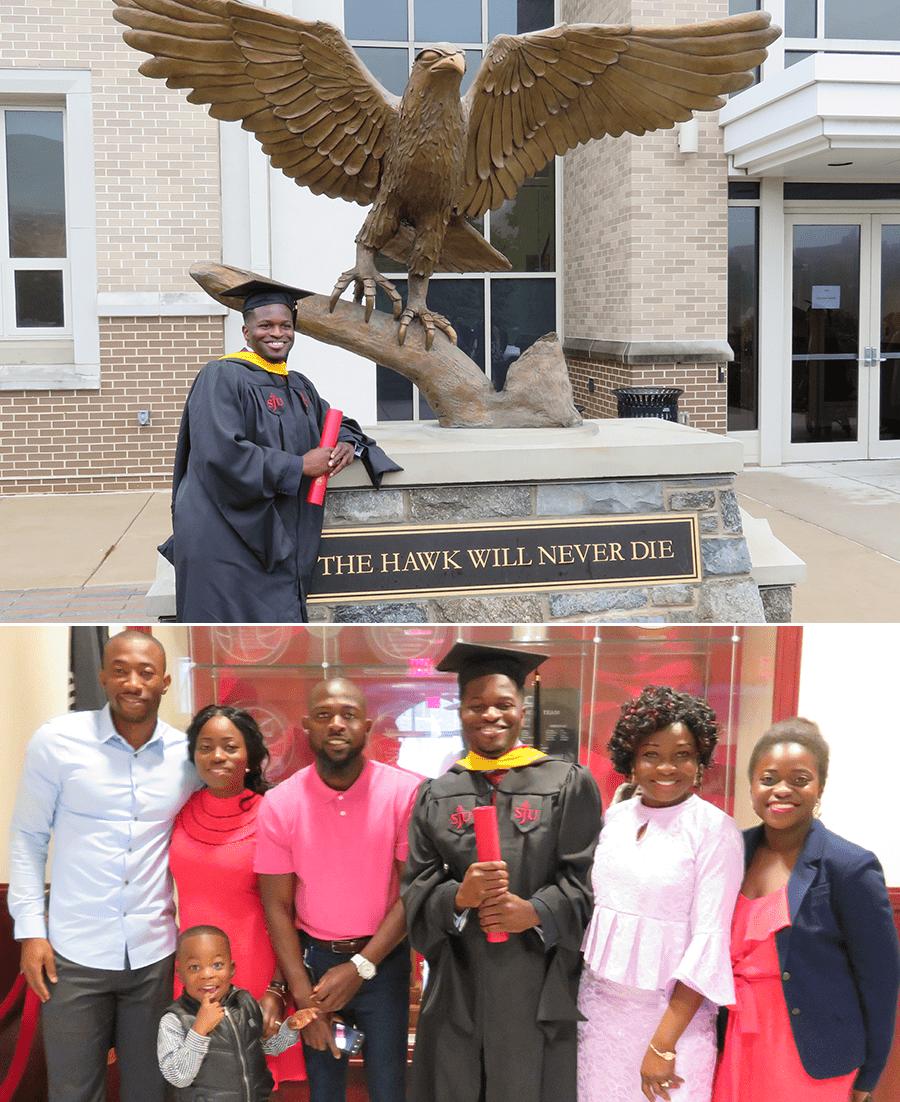 Kola earning his Master's degree from Saint Joseph's University