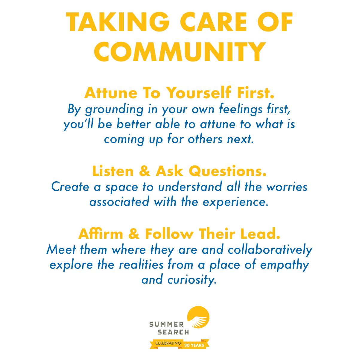 Taking Care of Community Checklist