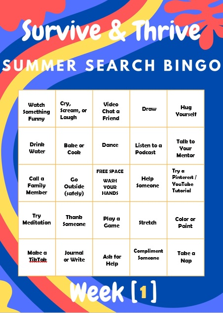 Summer Search Bingo card