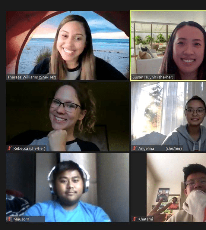 Seattle Mentors and Students on a Zoom call